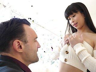 Hot Chinese babe Jade Kush gives a titjob and blowjob before pussy pounding