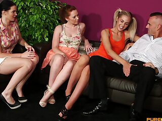 Stunning chicks share cock in massive CFNM tryout on cam
