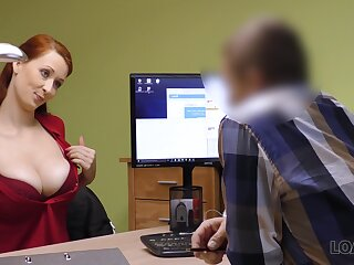 Horny alluring busty office battle-axe Isabella gives nice handjob