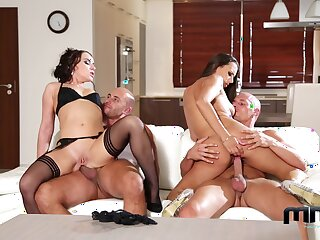 Cock supplanting foursome pleasures for two bonny wives
