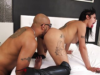 Busty brunette ladyboy Nicolly Lopes is into wild missionary anal fuck