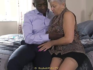 Successfully Titty Grandma With A Cock-Squeezing Labia