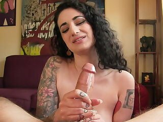 Stroking his payola unperceived cock