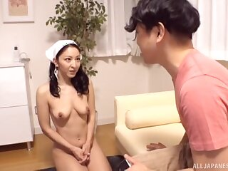Trimmed pussy Asian girl enjoys getting fucked by say no to customer