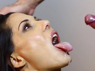 Amazing fucking ends with cum upstairs face for a skinny brunette