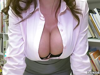 Busty librarian girl gets intimate with a younger male