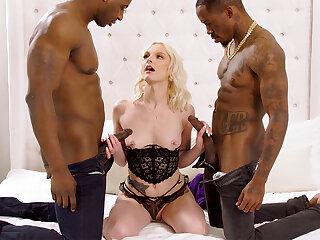 Monumental dark-hued penises spread blond's cock-squeezing vag